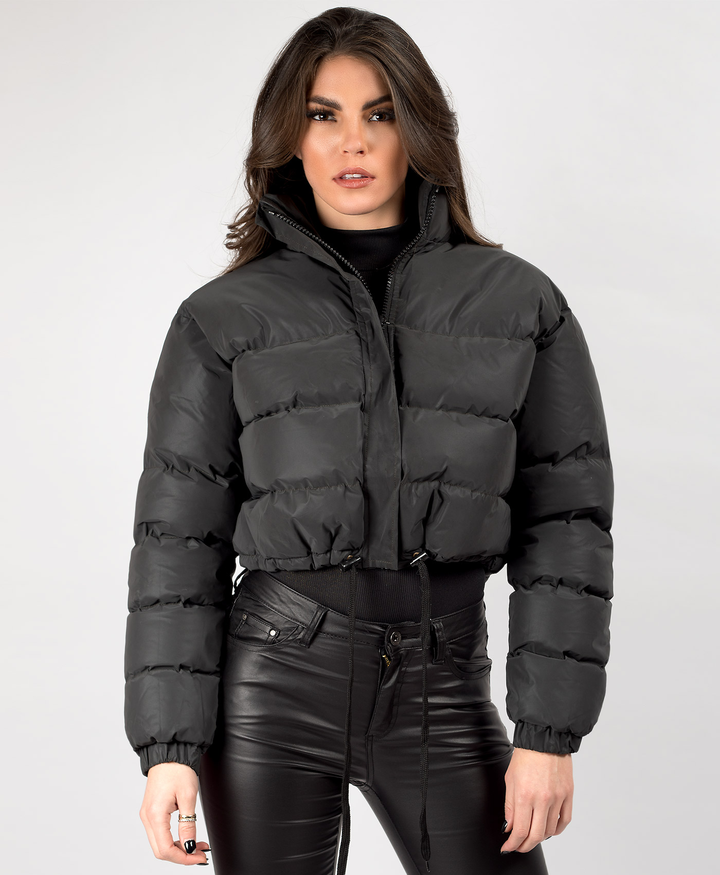 Womens-Reflective-Hi-Visibility-Thick-Puffer-Padded-Quilted-Cropped-Jacket-Coat Indexbild 14