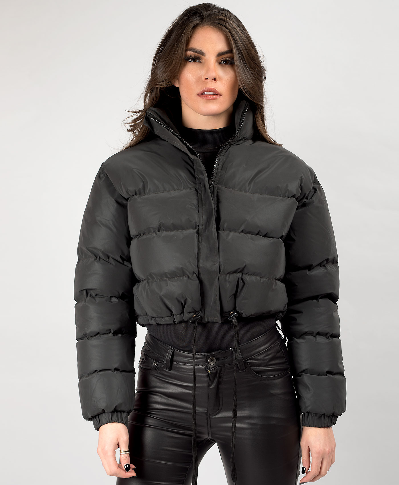 Womens-Reflective-Hi-Visibility-Thick-Puffer-Padded-Quilted-Cropped-Jacket-Coat Indexbild 15