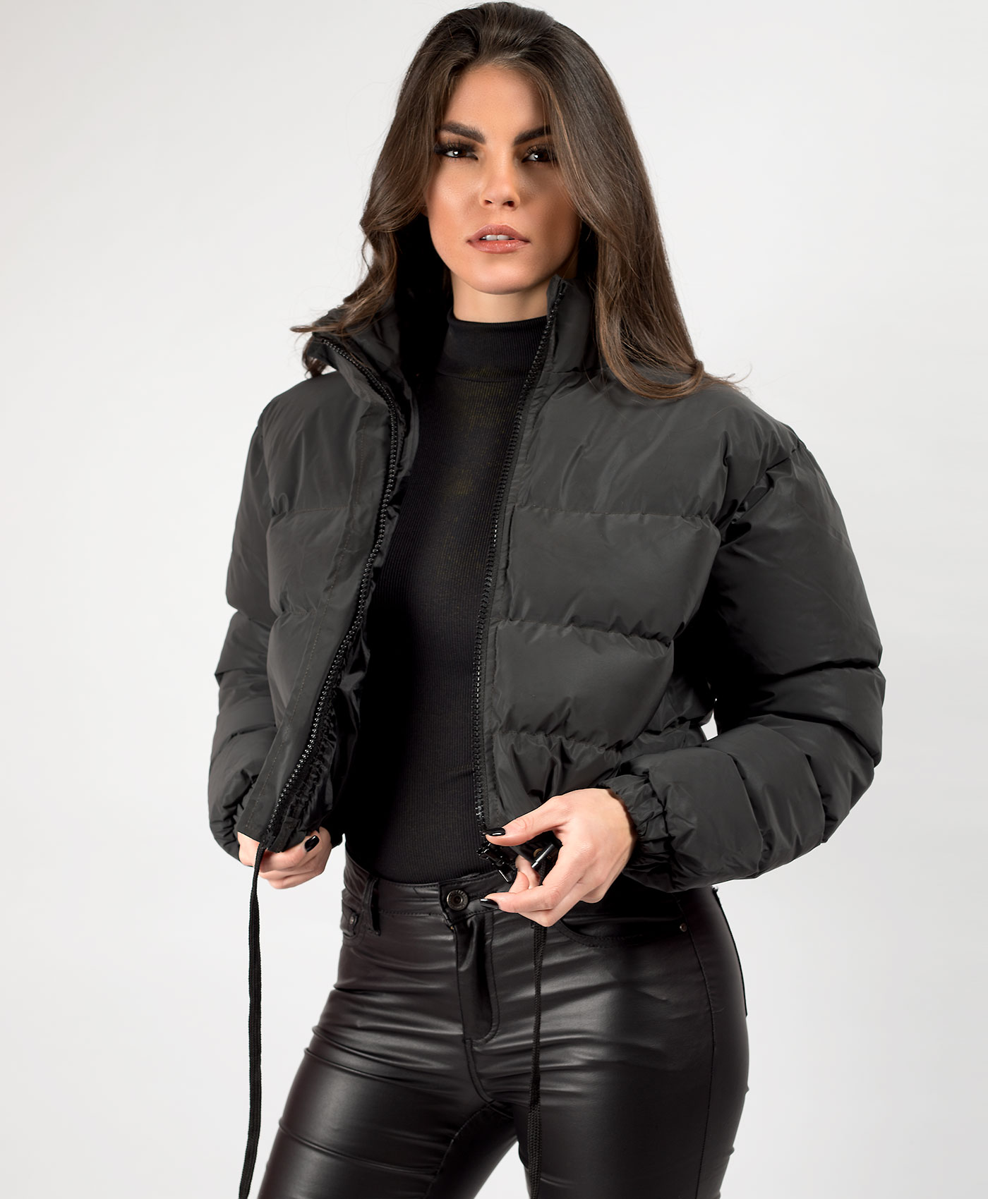 Womens-Reflective-Hi-Visibility-Thick-Puffer-Padded-Quilted-Cropped-Jacket-Coat Indexbild 16