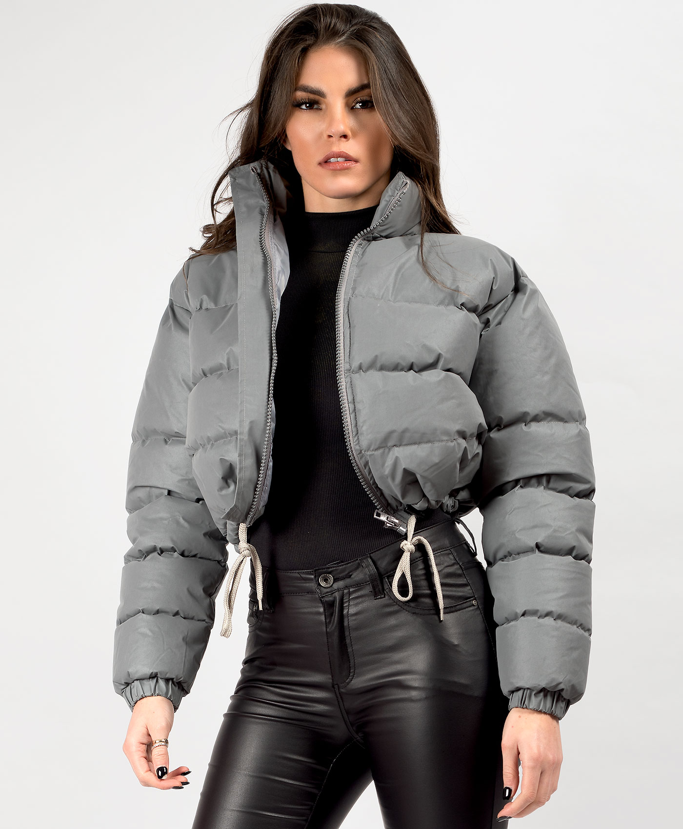 Womens-Reflective-Hi-Visibility-Thick-Puffer-Padded-Quilted-Cropped-Jacket-Coat Indexbild 20