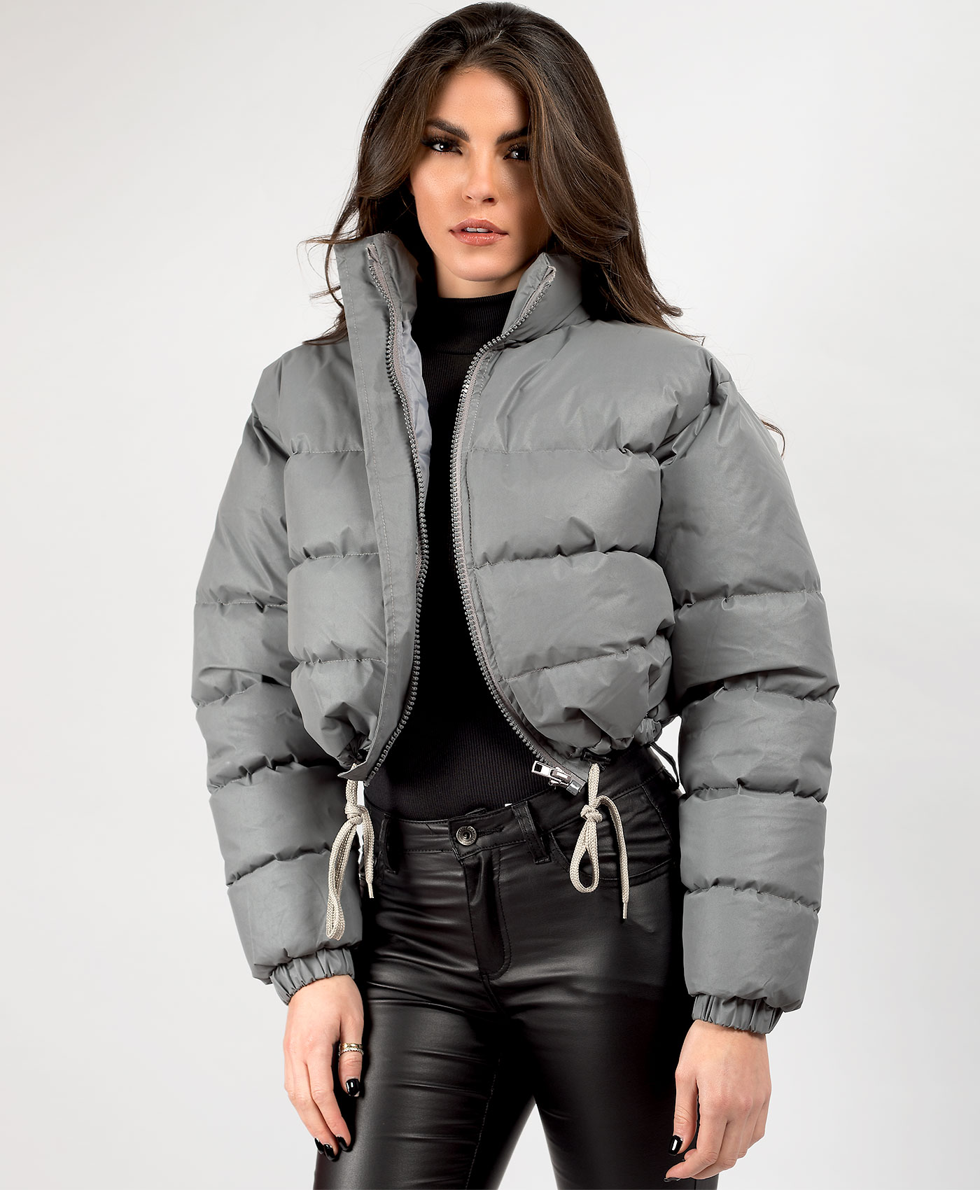 Womens-Reflective-Hi-Visibility-Thick-Puffer-Padded-Quilted-Cropped-Jacket-Coat Indexbild 21