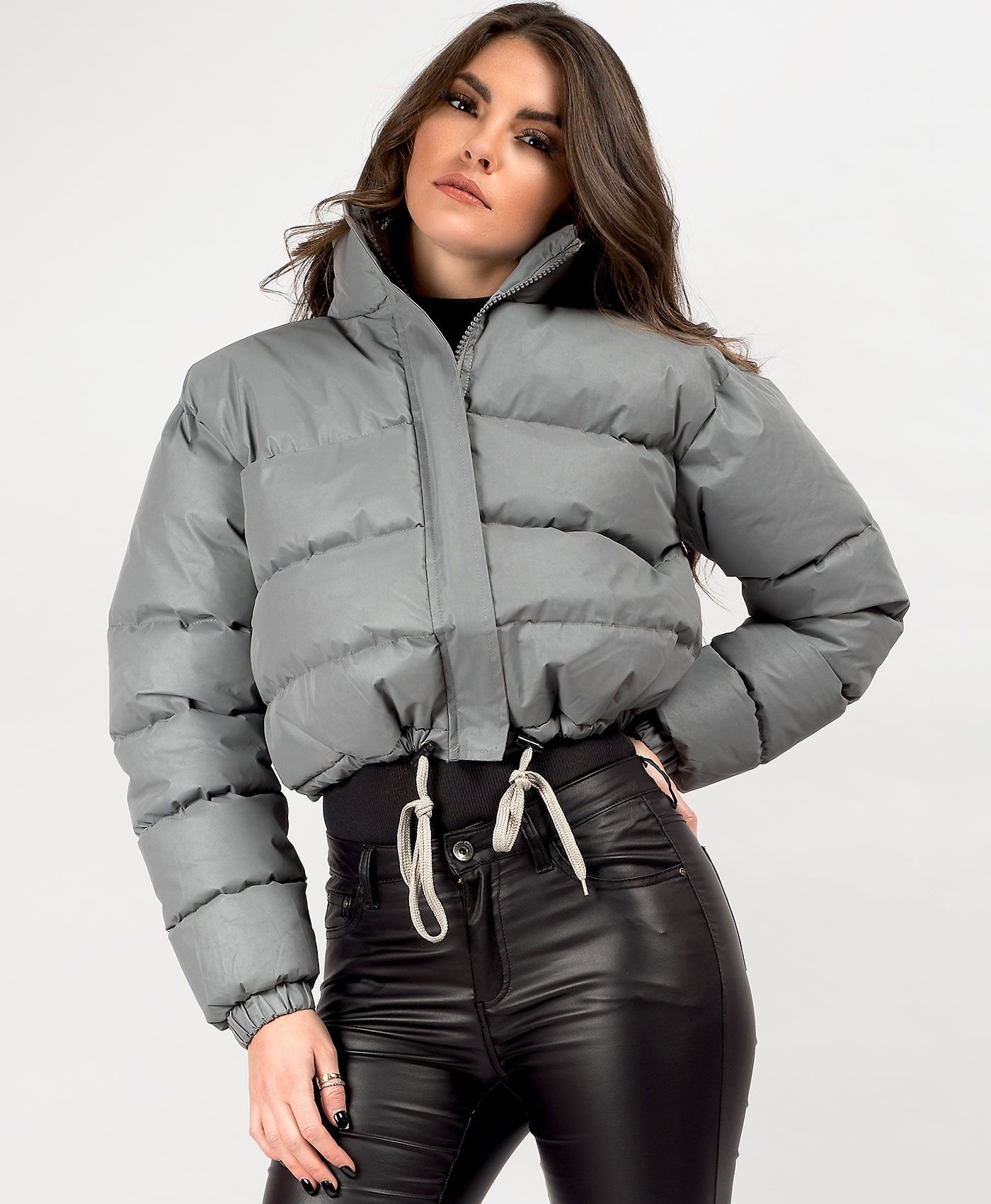 Womens-Reflective-Hi-Visibility-Thick-Puffer-Padded-Quilted-Cropped-Jacket-Coat Indexbild 22