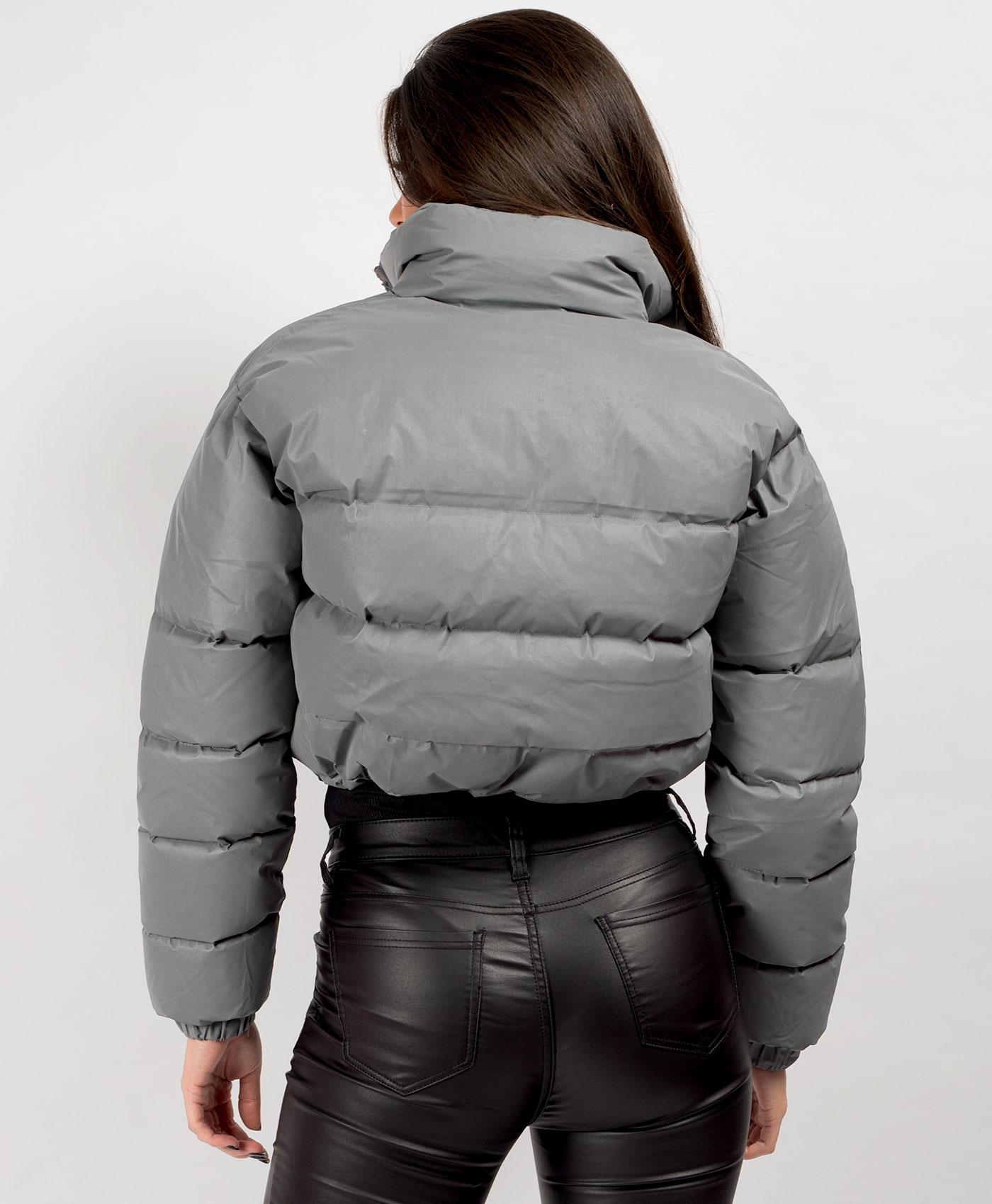 Womens-Reflective-Hi-Visibility-Thick-Puffer-Padded-Quilted-Cropped-Jacket-Coat Indexbild 23