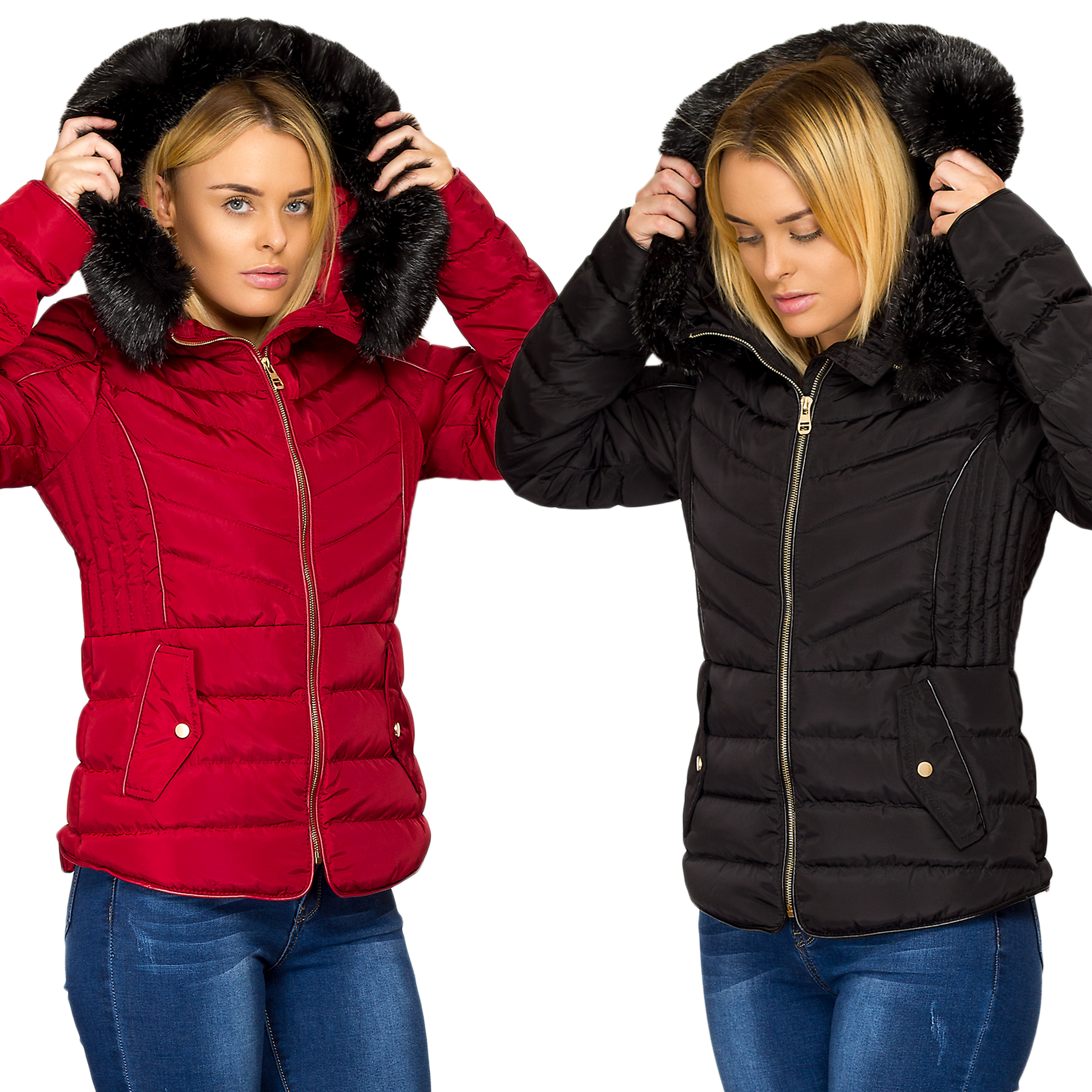 558ecfae Details about Ladies Women Quilted Puffer Bubble Padded Faux Fur Hooded Warm  Thick Coat Jacket