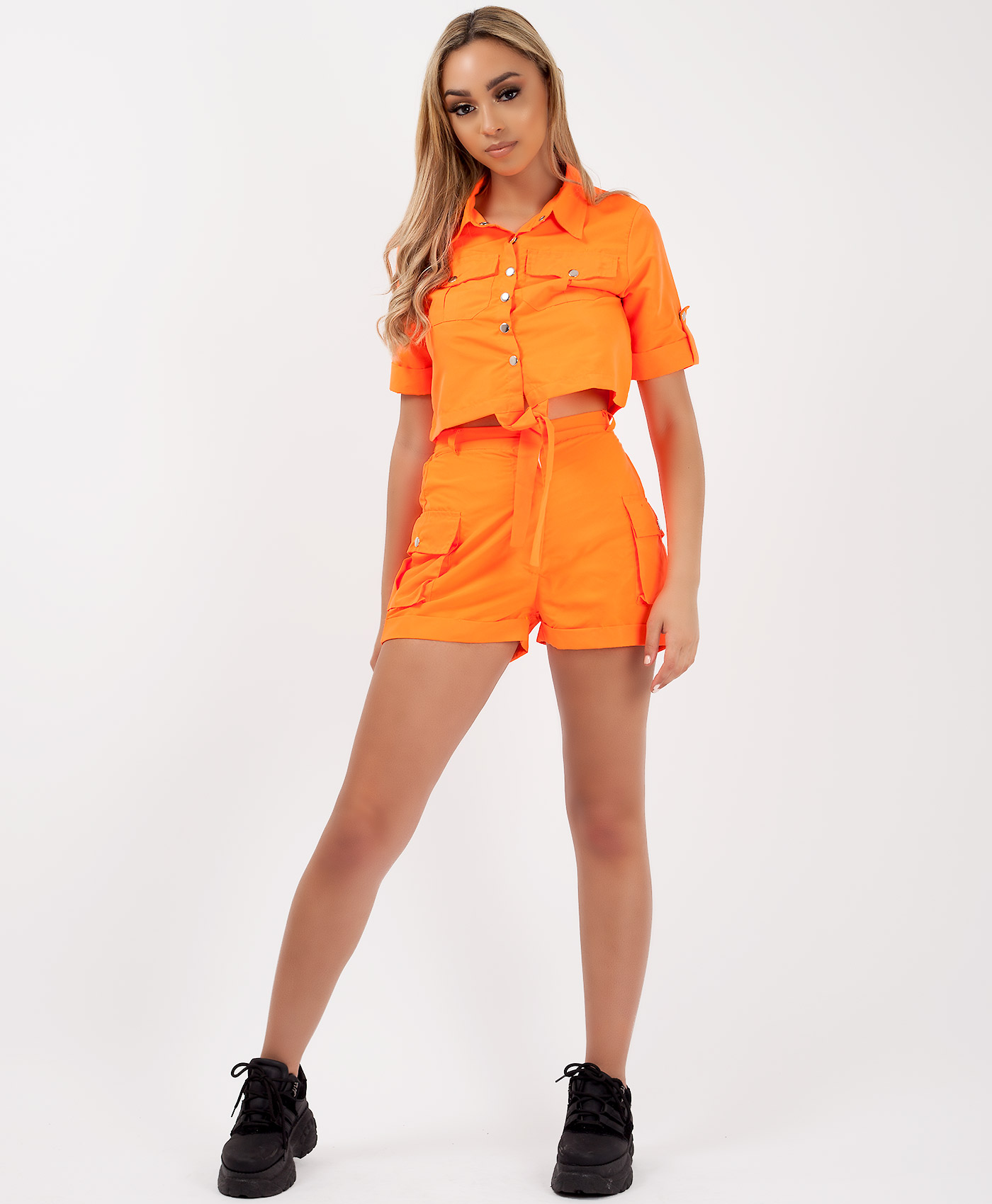 Womens Summer Tied Front Crop Top Hot Pants Shorts Ladies Co-Ord Set Q