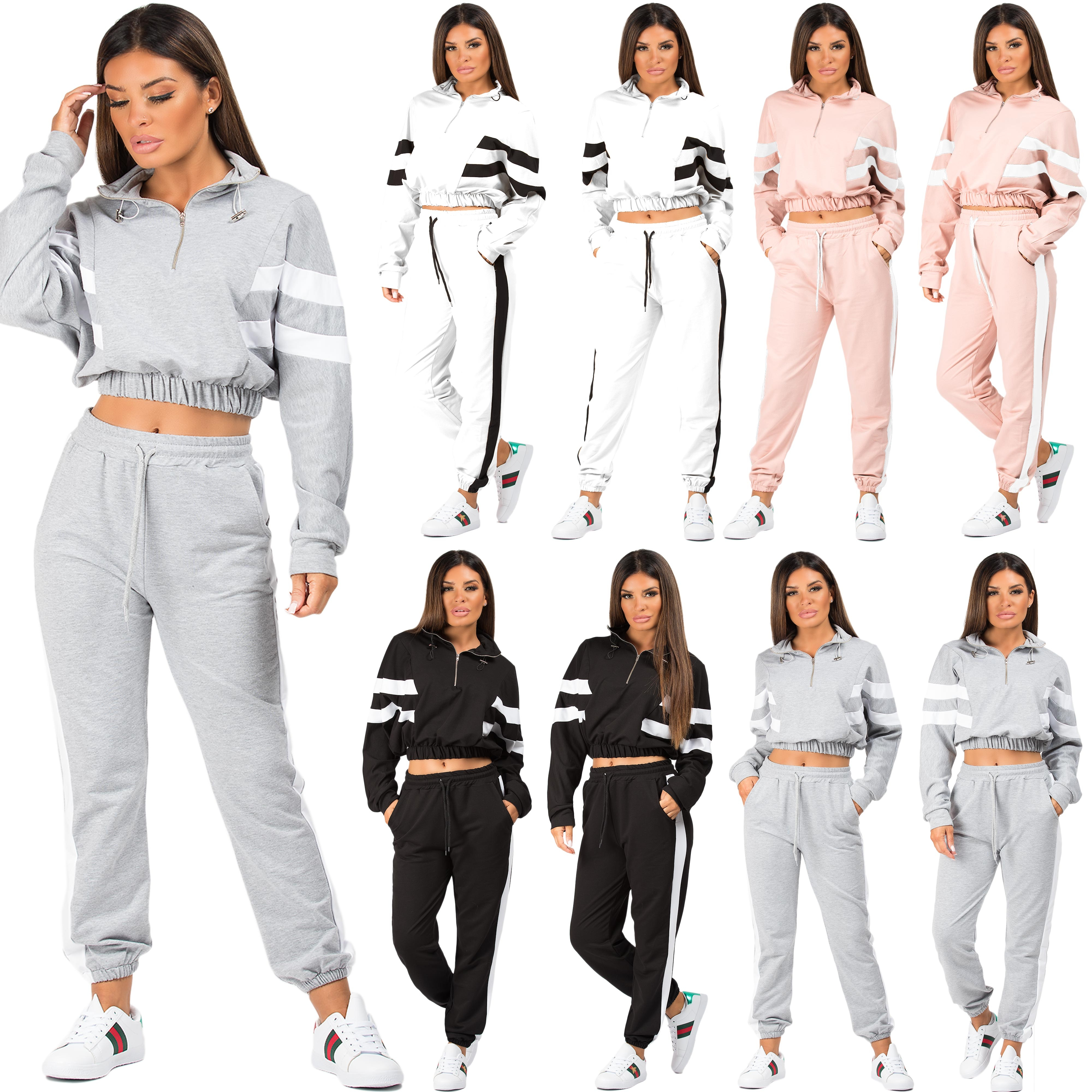 Ladies Womens Contrast Side Stripes Long Sleeve Pockets Loungewear Tracksuit Set