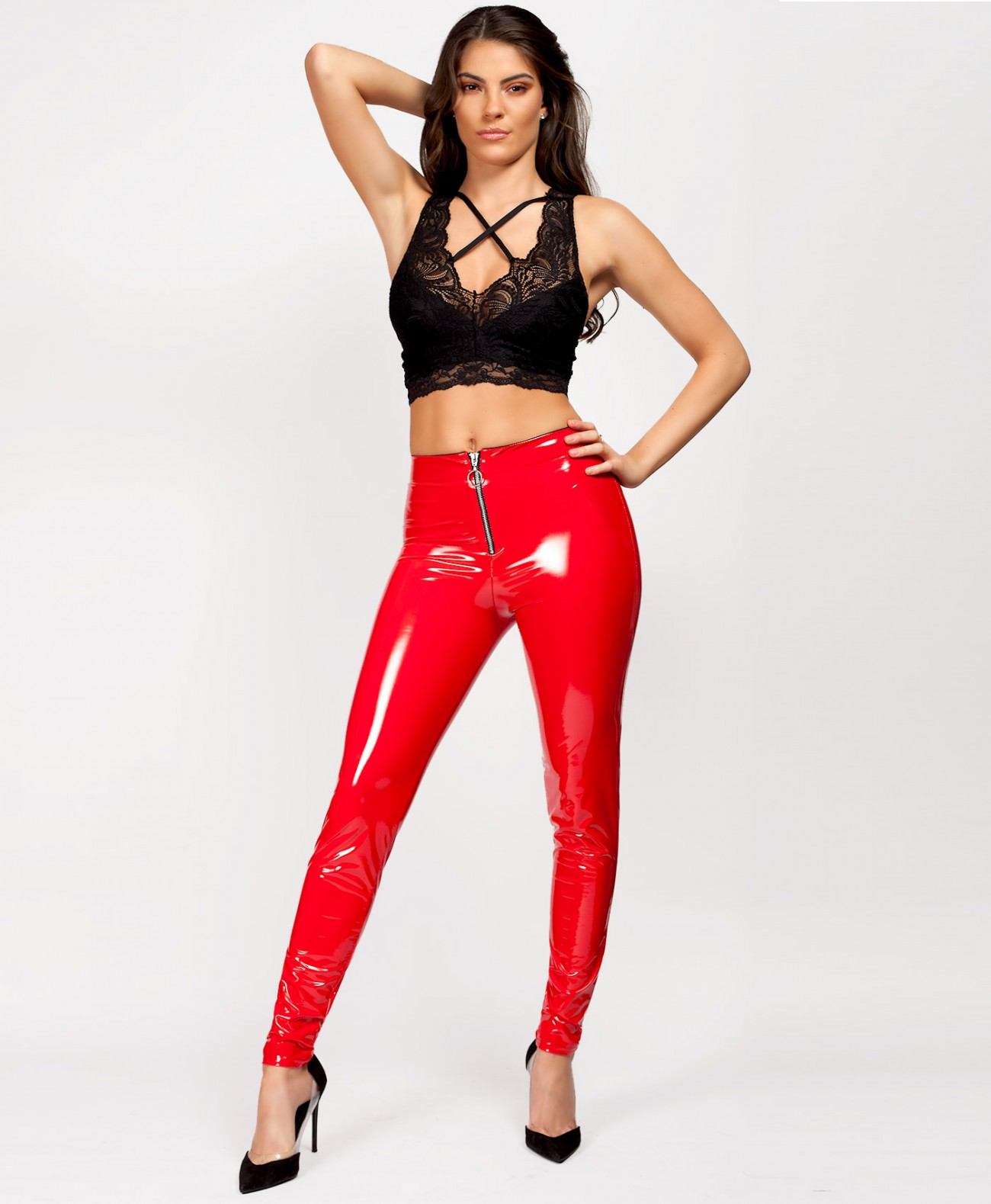 3e8945416d887 Red High Shine Wet Look Zip Front Vinyl Leggings | LexiFashion