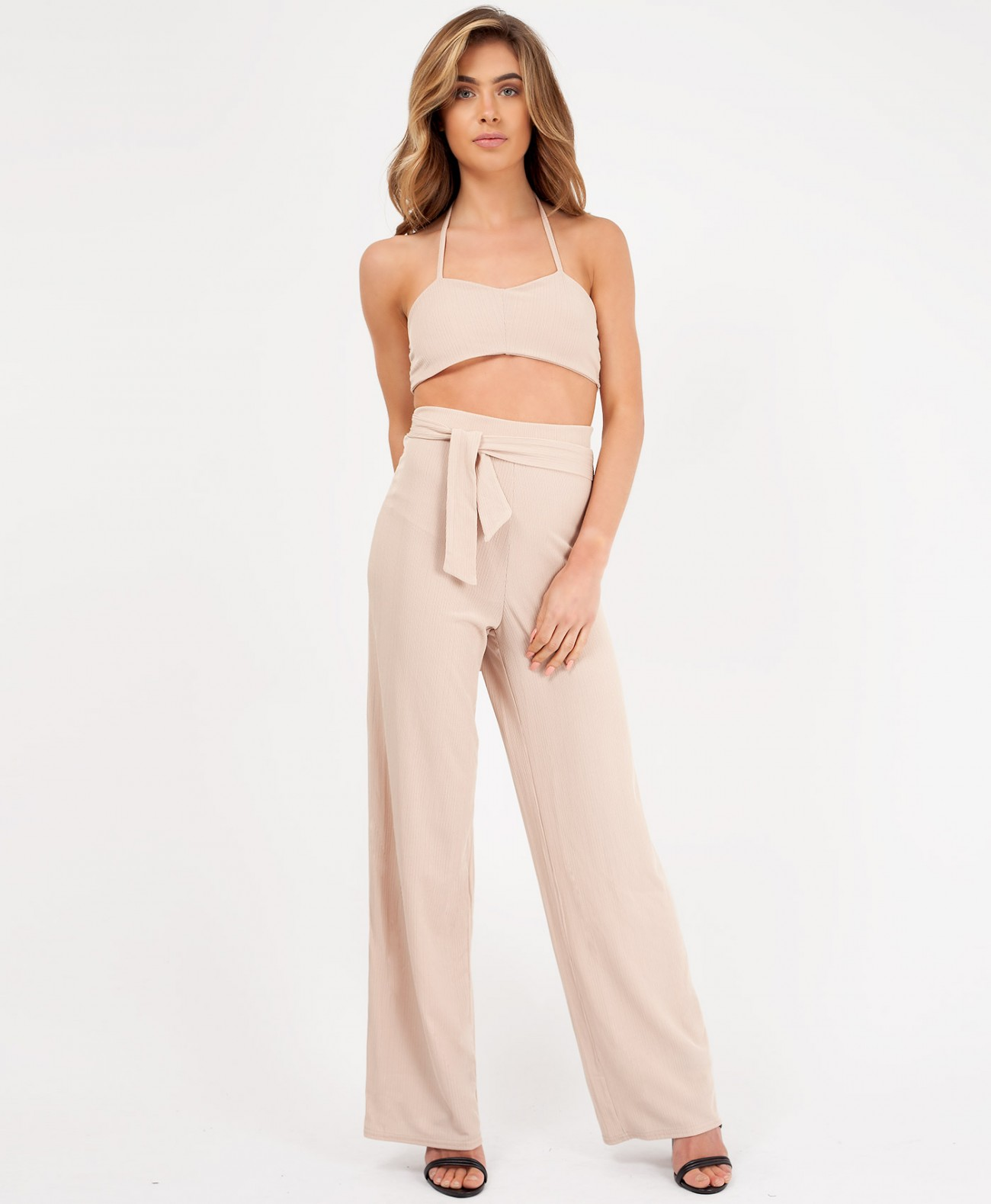 ad5cc1e149ee Beige Ribbed Crop Top & Flared Trouser Co Ord   LexiFashion
