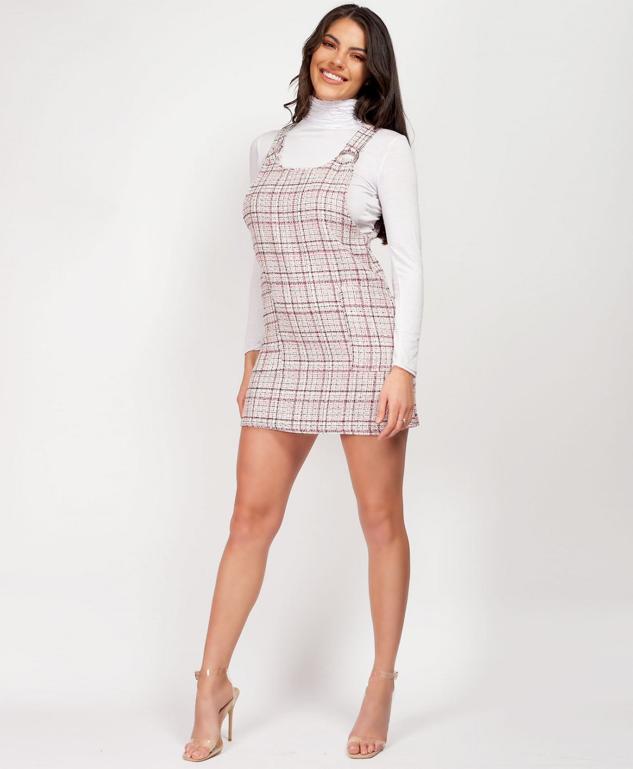 unparalleled the latest get online Pink Tweed Ring Front Pinafore Dress