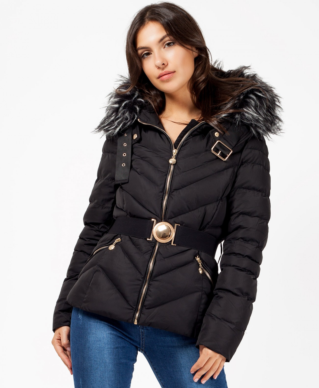 5dc16f7b968 Home  Black Faux Fur Hood Belted Quilted Puffer Jacket. Black-Quilted -Chevron-Belted-Bubble-Jacket-1a