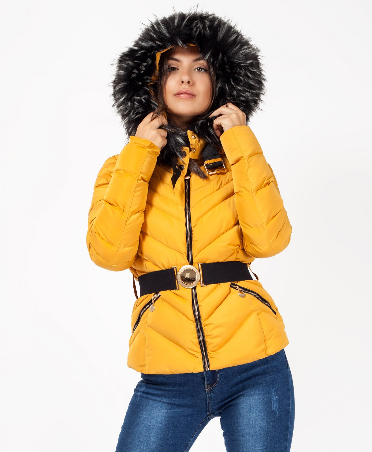 2c6c58362 Mustard Padded Quilted Faux Fur Hood Puffer Jacket