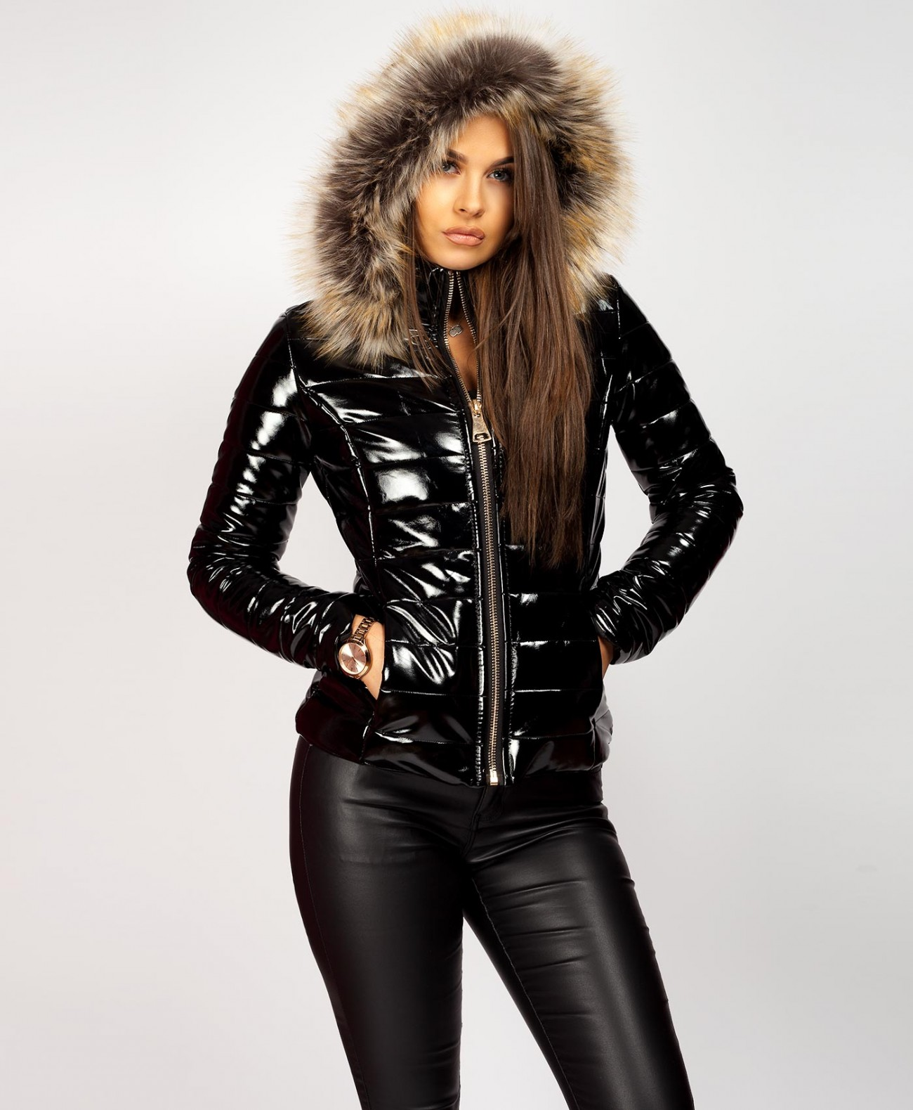 efbbc3c36 Fur Hood Shiny Vinyl Wet Look Puffer Jacket