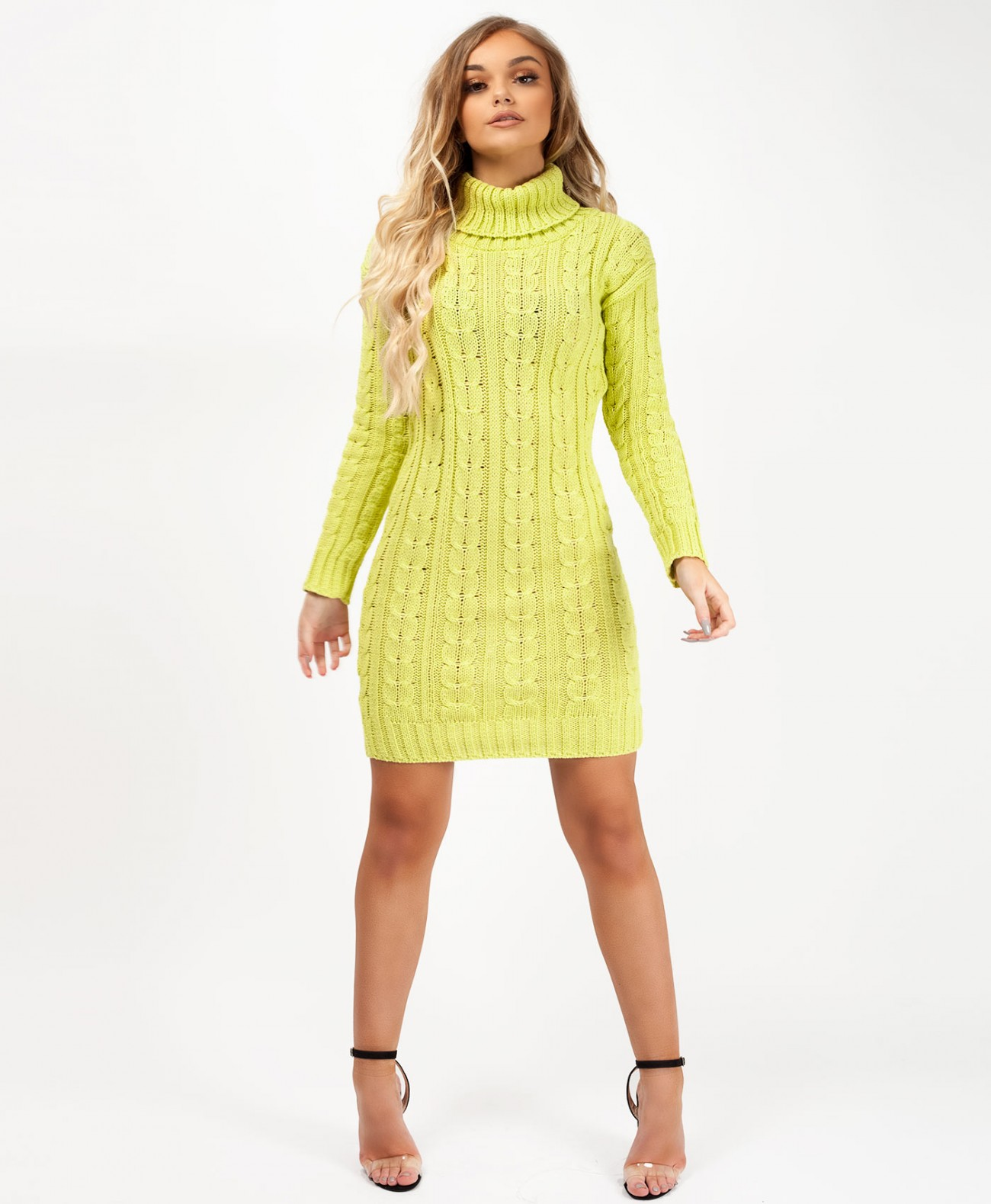 0adb0d3f6be Lime-Cable-Knit-Roll-Neck-Jumper-Dress-1