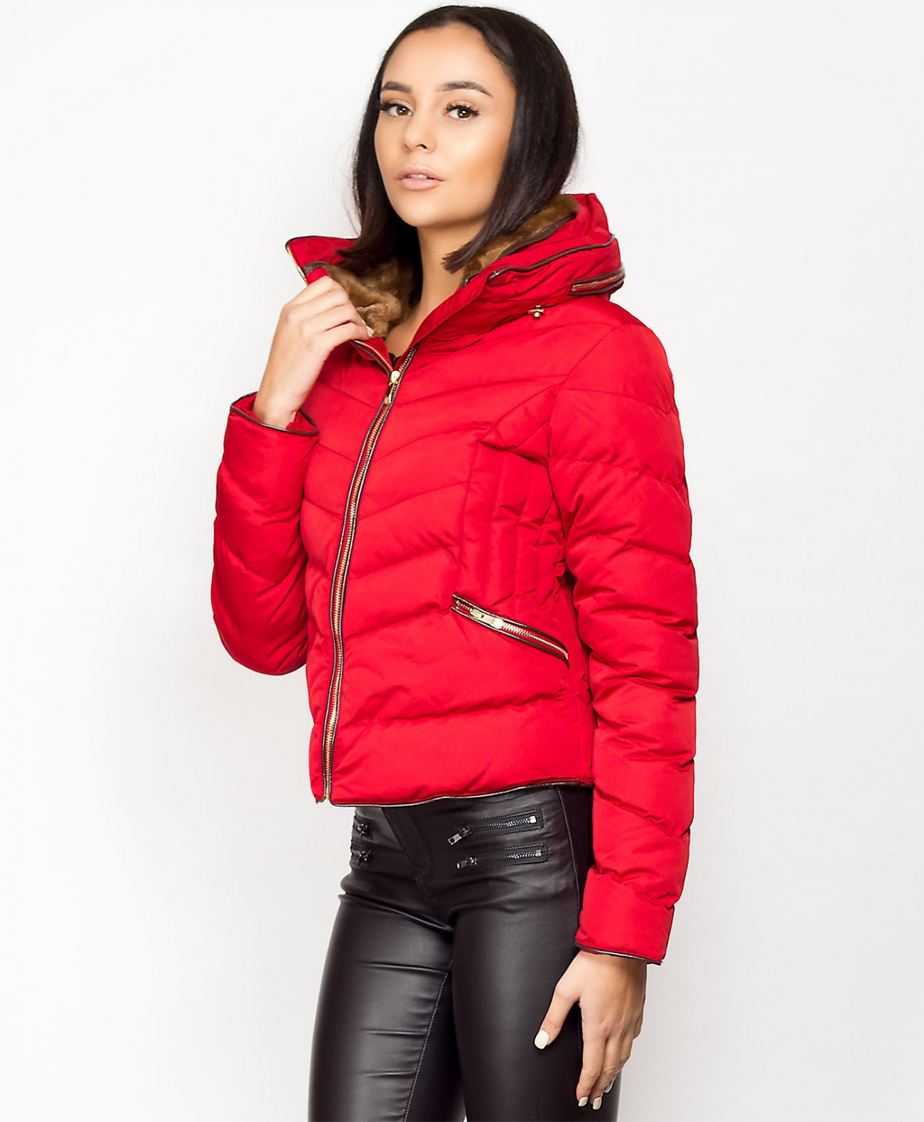 531ab350 Zara Faux Fur Lined Collar Padded Puffer Jacket Coat