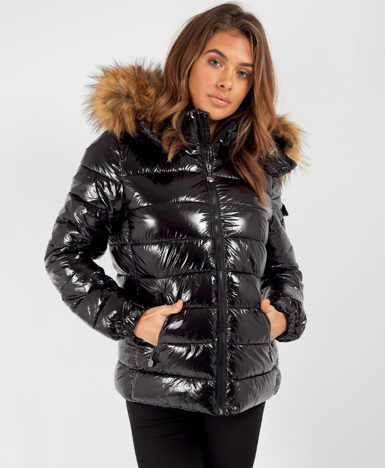 outlet for sale differently newest collection Black Chunky Faux Fur Hood Shiny Wet Look Puffer Jacket | LexiFashion