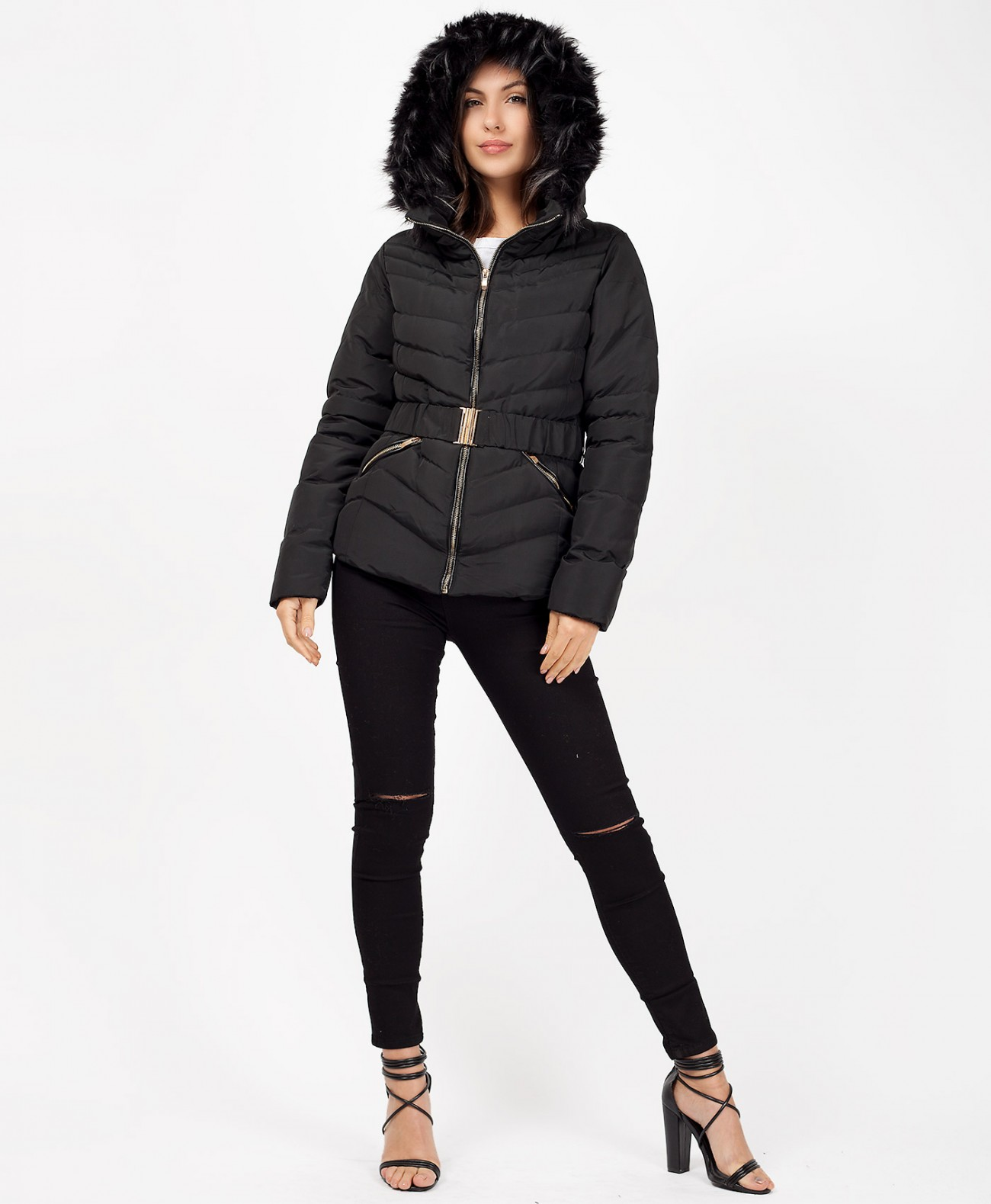 65de97152 Black Faux Fur Hooded Quilted Clasp Belt Puffer Jacket