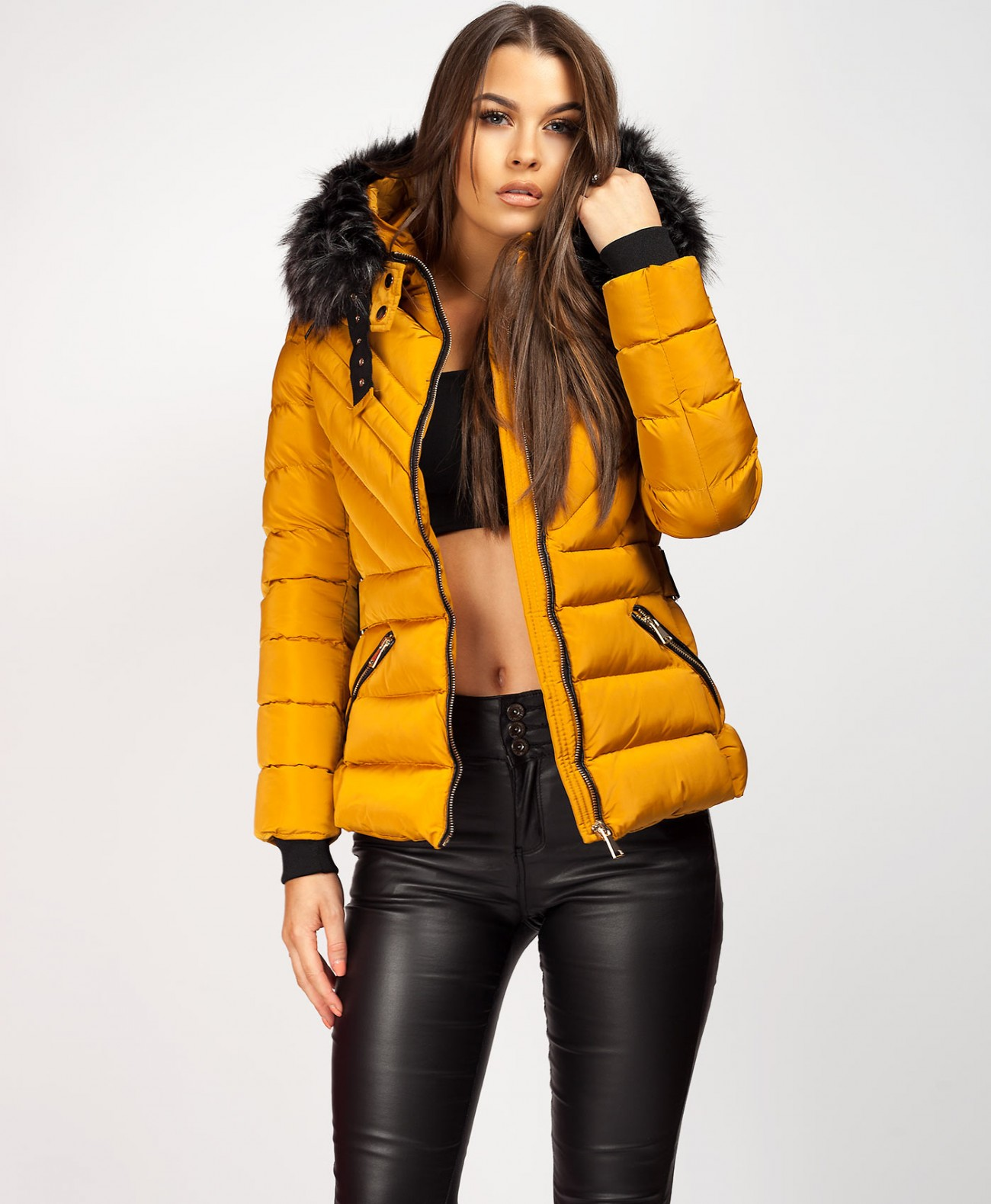 58e0d44cd ... Faux Fur Hood Side Buckle Jacket.  Mustard-Padded-Side-Buckle-Chevron-Quilted-Puffer-Jacket-