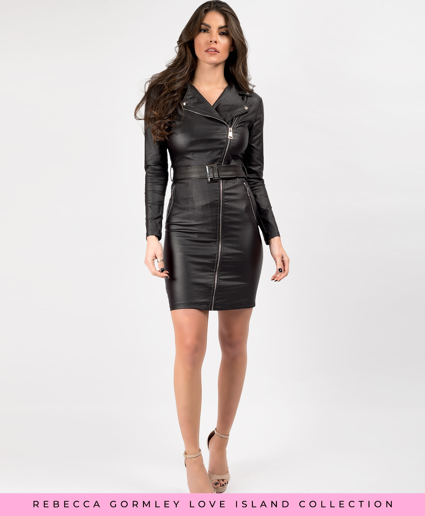 Black-PU-PVC-Faux-Leather-Zip-Up-Belted-Biker-Jacket-Dress-1