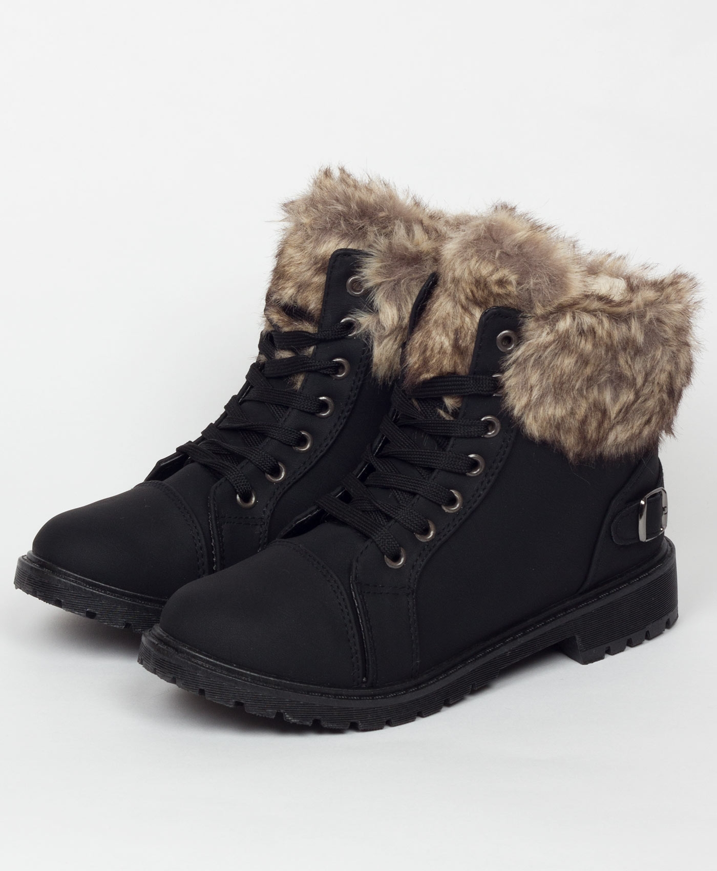 Black-29015-Sherpa-Lined-Fur-Detail-Buckle-Trim-Ankle-Boots-1