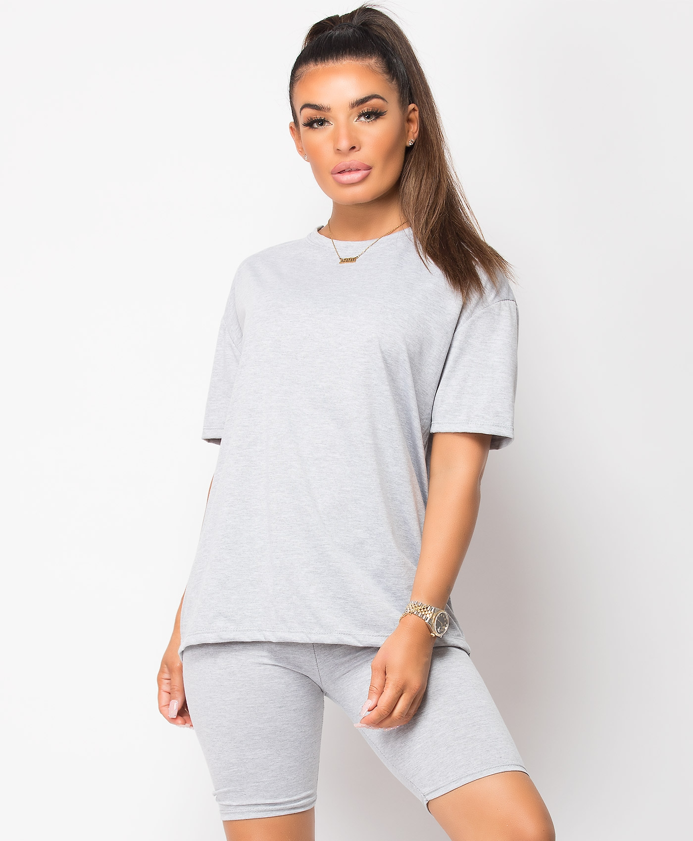 Grey-Cycling-Short-&-Oversize-T-Shirt-Co-Ord-Loungewear-Set-1