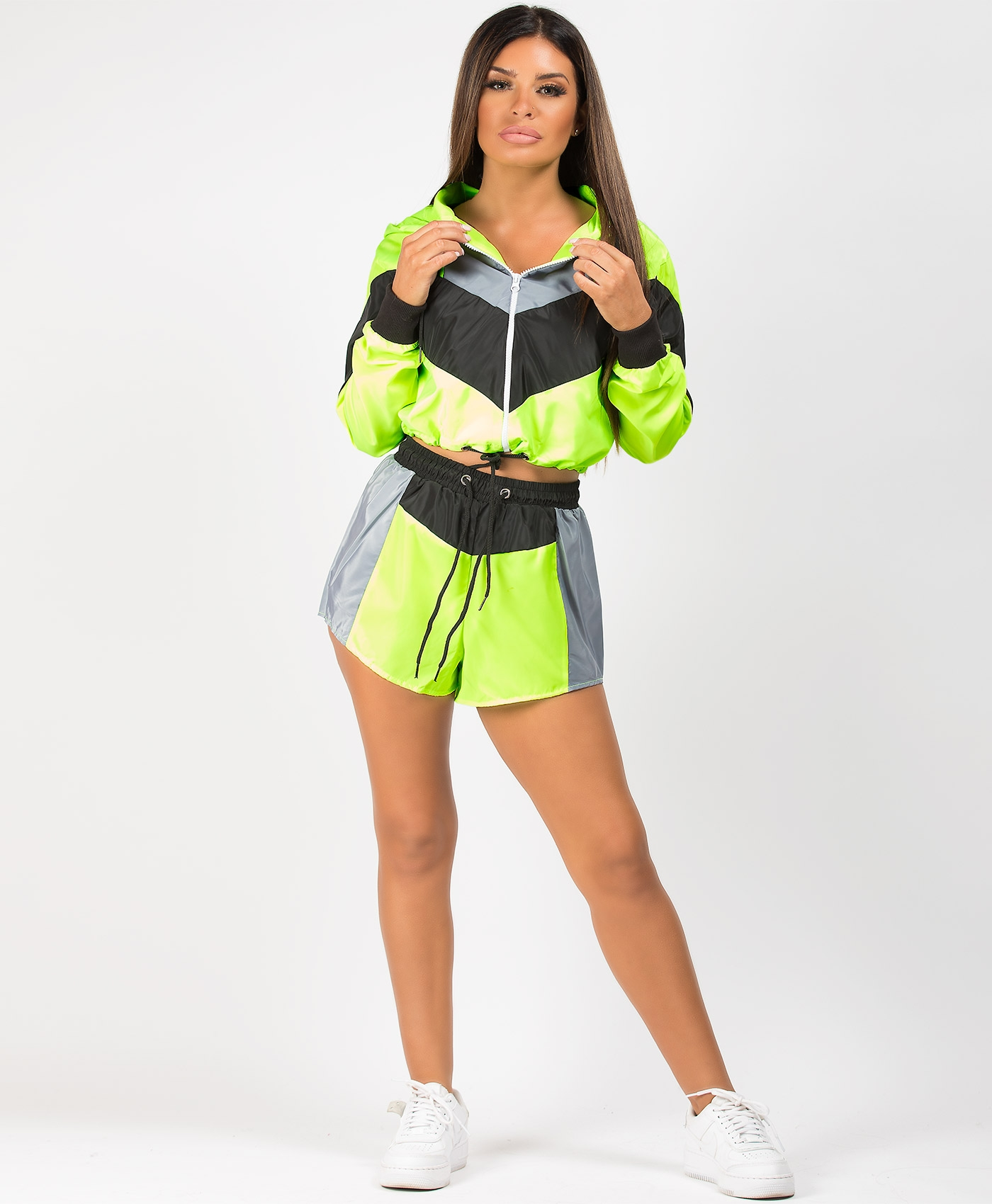 Neon-Green-Colour-Block-Jacket-&-Shorts-Co-Ord-Set-1