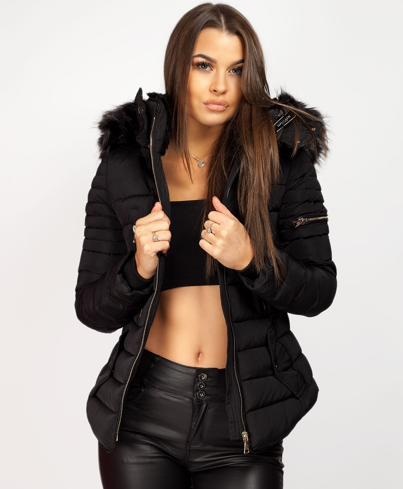 Black-Y-865-Double-Zip-Detail-Padded-Fur-Hooded-Puffer-Jacket-1a