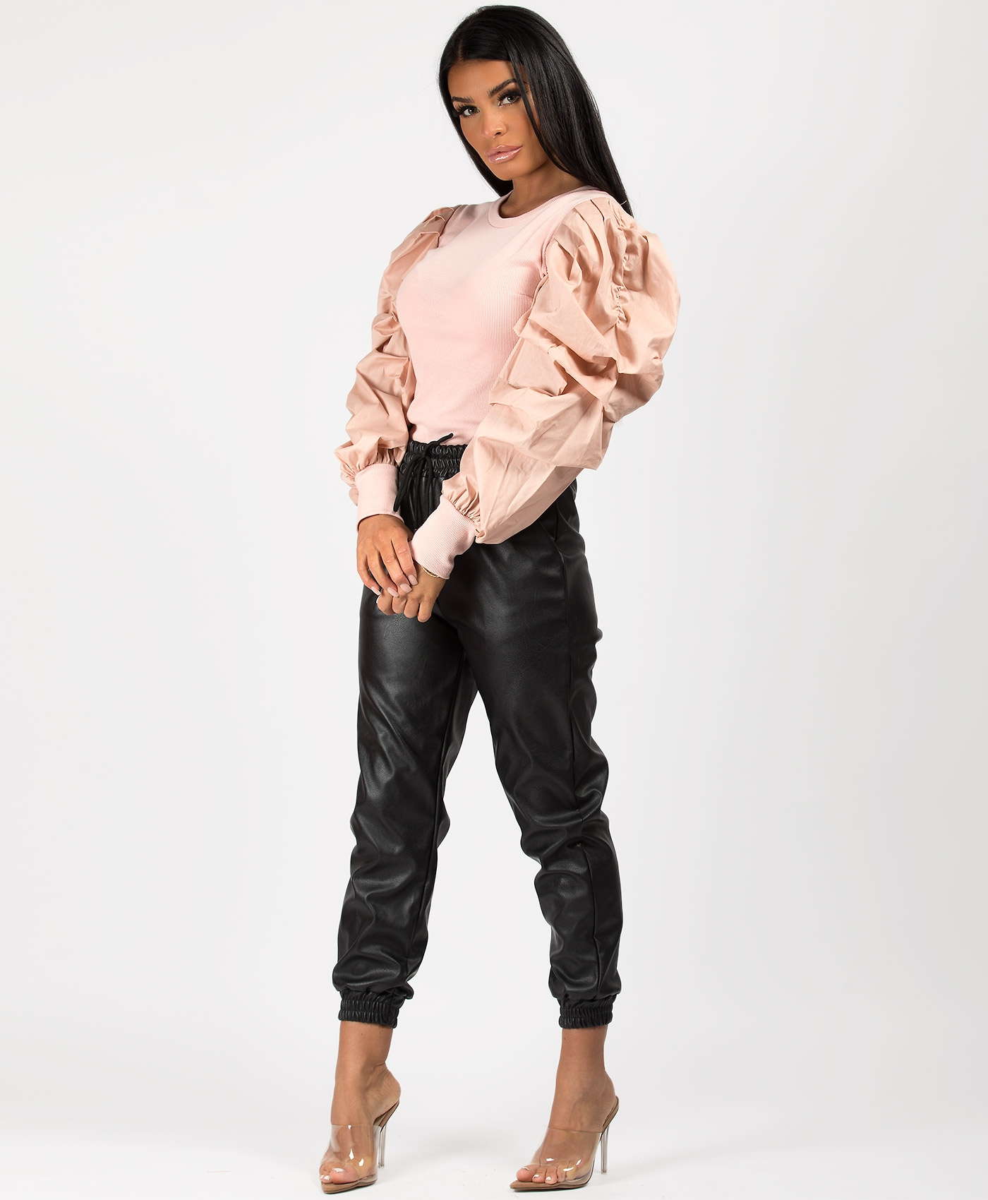 Pink-Ribbed-Puff-Sleeve-Top-2