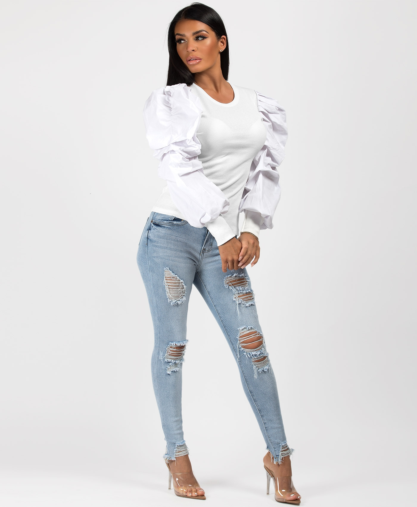 White-Ribbed-Puff-Sleeve-Top-2