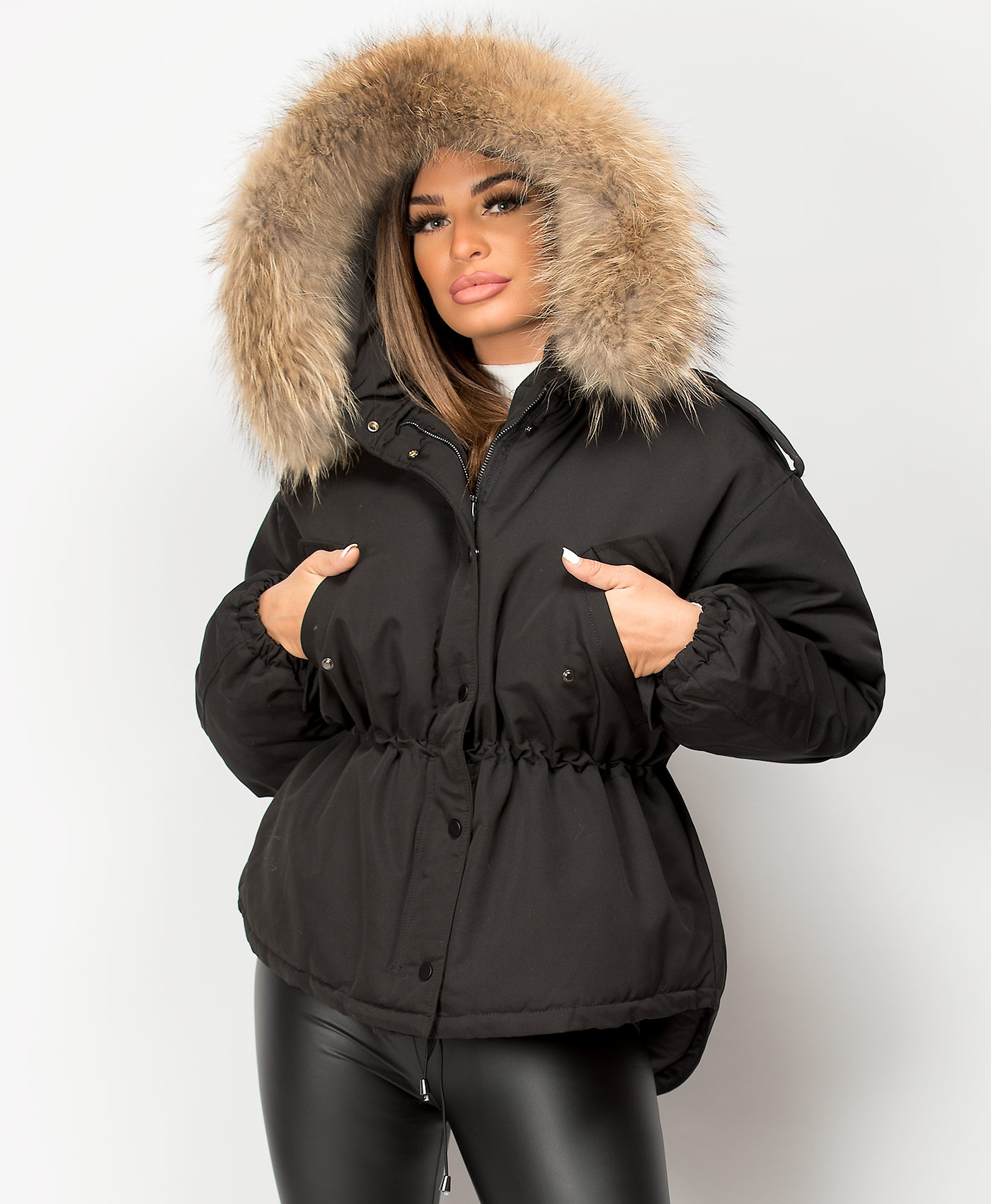 Black-Oversized-Fit-Natural-Real-Fur-Padded-Fishtail-Parka-Jacket-1