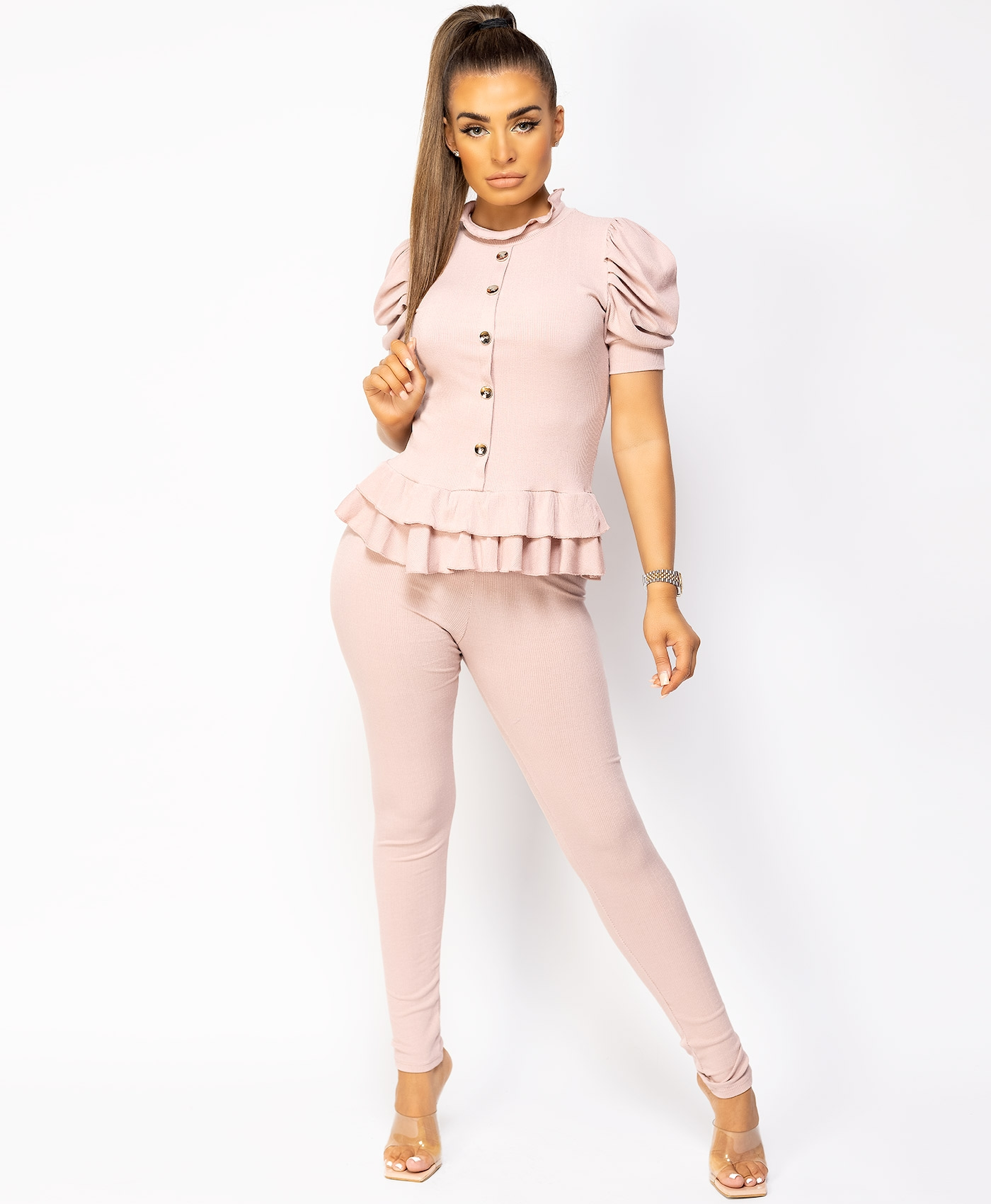 Pink-Short-Sleeve-Frill-Gold-Button-Ribbed-Loungewear-Set-1