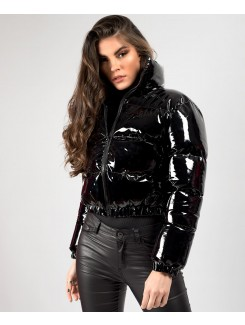 Black High Shine PU Vinyl Cropped Puffer Jacket