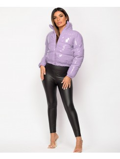 Lilac High Shine PU Vinyl Cropped Puffer Jacket