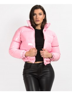 Pink High Shine PU Vinyl Cropped Puffer Jacket