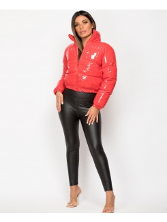 Red High Shine PU Vinyl Cropped Puffer Jacket