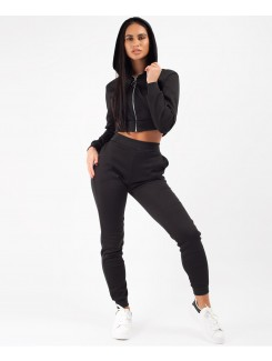 Black-Cropped-Hooded-Zipper-Jacket-&-Joggers-Loungewear-Set-1