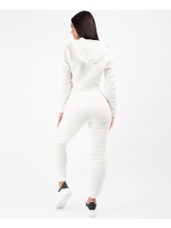 White Cropped Hoodie & Joggers Lougewear Set