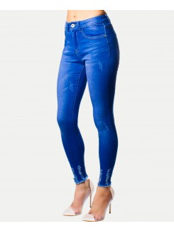 Blue Distressed Hem Skinny Jeans