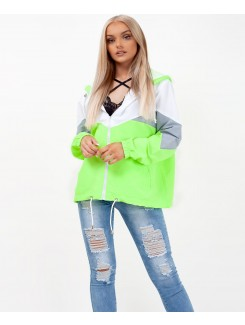 Neon Green Colour Block Windbreaker Festival Jacket