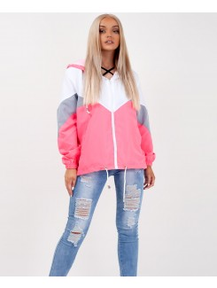 Neon Pink Colour Block Windbreaker Festival Jacket