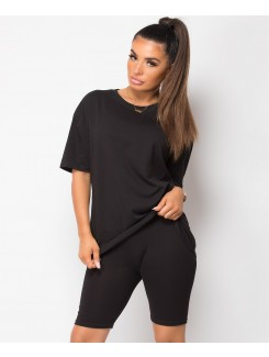 Black-Cycling-Short-&-Oversize-T-Shirt-Co-Ord-Loungewear-Set-1