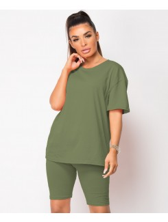 Khaki-Cycling-Short-&-Oversize-T-Shirt-Co-Ord-Loungewear-Set-1