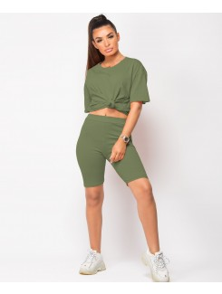 Khaki Plain Cycling Short & T-Shirt Co Ord Loungewear Set
