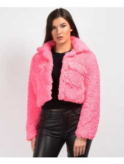 Neon Pink Teddy Fur Cropped Borg Trucker Jacket
