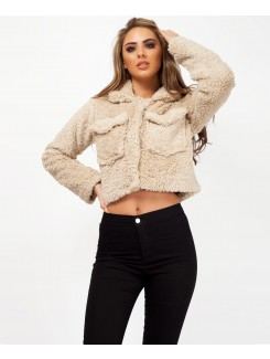 Teddy Fur Cropped Borg Trucker Jacket