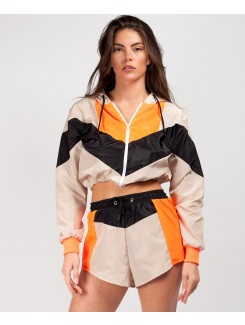 Beige Orange Colour Block Jacket & Shorts Festival Co Ord