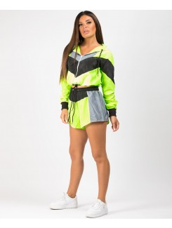 Neon Green Colour Block Jacket & Shorts Festival Co Ord