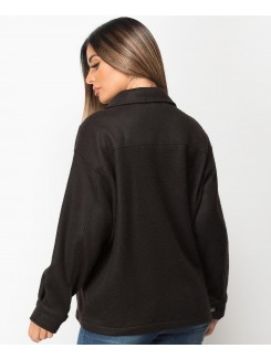 Black Fleece Oversized Plain Shirt Shacket