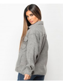 Grey Fleece Oversized Plain Shirt Shacket