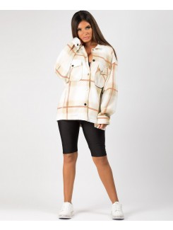Beige Fleece Oversized Check Shirt Shacket