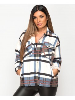 Blush Fleece Oversized Check Shirt Shacket